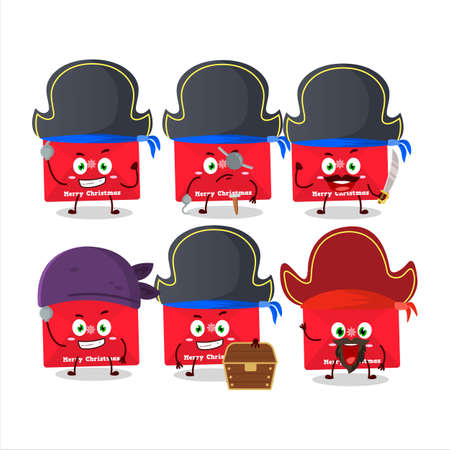 Cartoon character of red christmas envelopes with various pirates emoticons