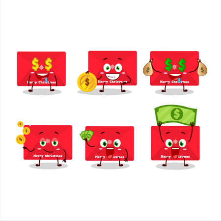 Red christmas envelopes cartoon character with cute emoticon bring money
