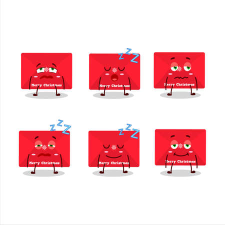 Cartoon character of red christmas envelopes with sleepy expression Ilustração