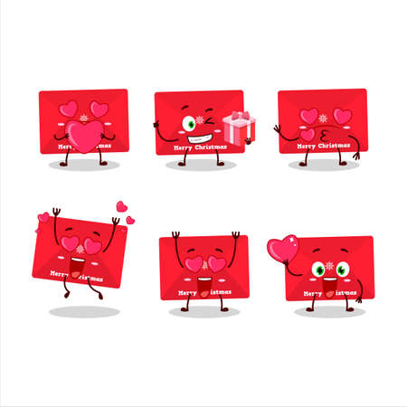 Red christmas envelopes cartoon character with love cute emoticon