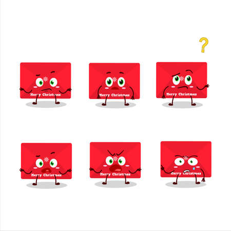 Cartoon character of red christmas envelopes with what expression