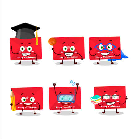 School student of red christmas envelopes cartoon character with various expressions Ilustração