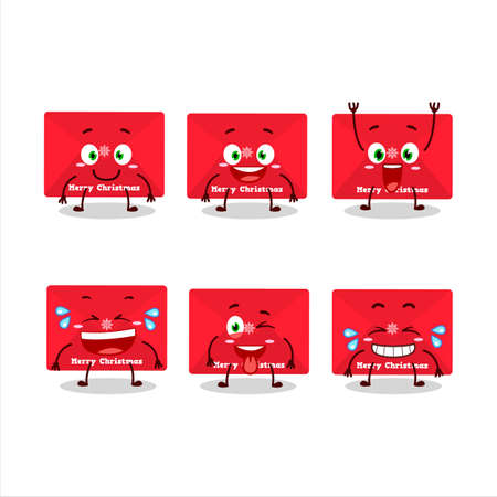 Cartoon character of red christmas envelopes with smile expression