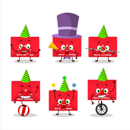 Cartoon character of red christmas envelopes with various circus shows