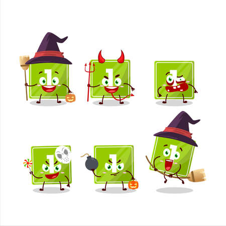 Halloween expression emoticons with cartoon character of toys block one