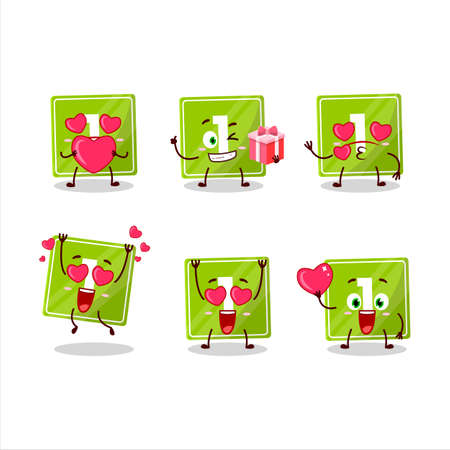 Toys block one cartoon character with love cute emoticon