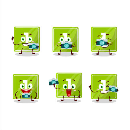 Photographer profession emoticon with toys block one cartoon character