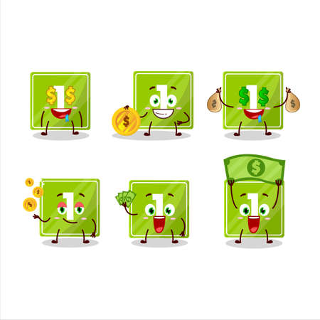 Toys block one cartoon character with cute emoticon bring money