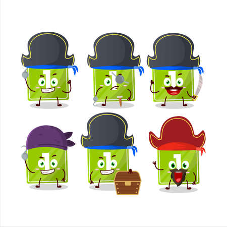 Cartoon character of toys block one with various pirates emoticons