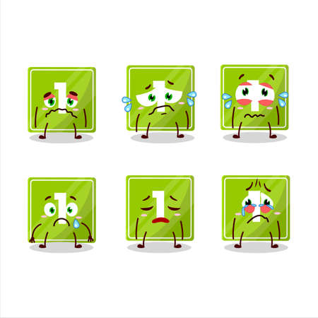 Toys block one cartoon character with sad expression 矢量图像