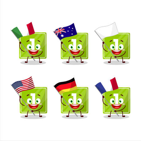 Toys block one cartoon character bring the flags of various countries 矢量图像