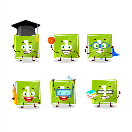 School student of toys block one cartoon character with various expressions