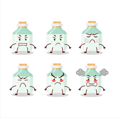 White baby milk bottle cartoon character with various angry expressions