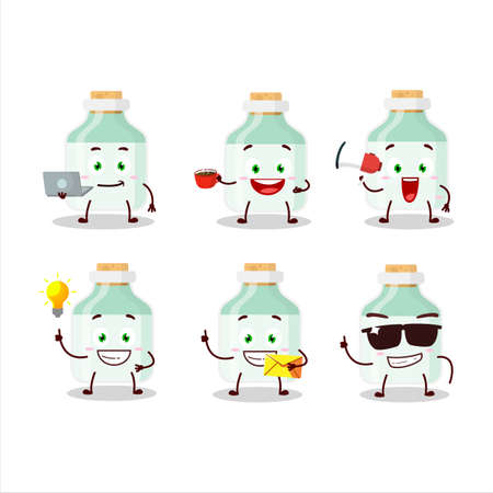 White baby milk bottle cartoon character with various types of business emoticons