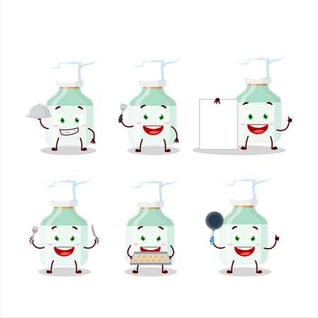 Cartoon character of white baby milk bottle with various chef emoticons