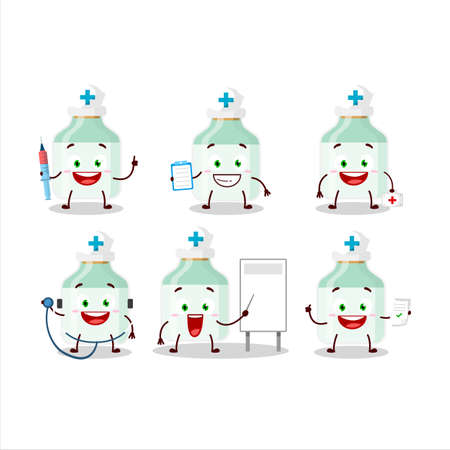 Doctor profession emoticon with white baby milk bottle cartoon character