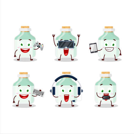 White baby milk bottle cartoon character are playing games with various cute emoticons