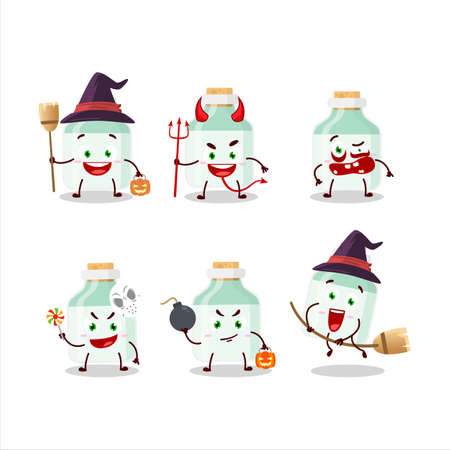 Halloween expression emoticons with cartoon character of white baby milk bottle