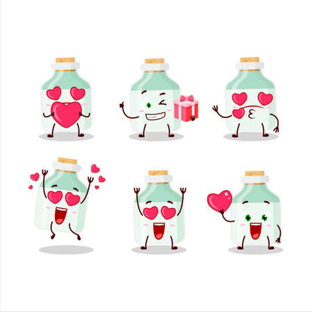 White baby milk bottle cartoon character with love cute emoticon