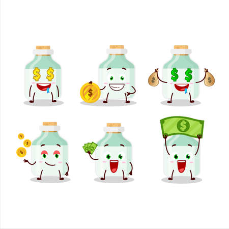 White baby milk bottle cartoon character with cute emoticon bring money 矢量图像