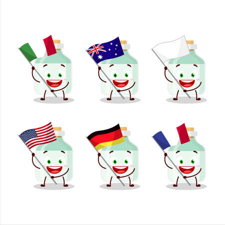 White baby milk bottle cartoon character bring the flags of various countries