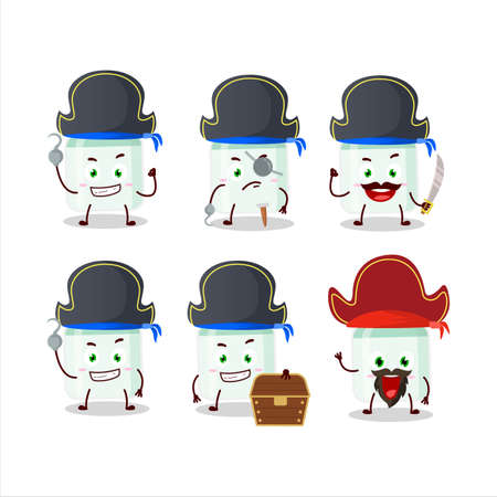 Cartoon character of white baby milk bottle with various pirates emoticons 矢量图像