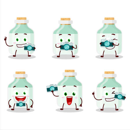 Photographer profession emoticon with white baby milk bottle cartoon character