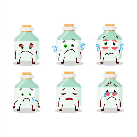 White baby milk bottle cartoon character with sad expression 矢量图像