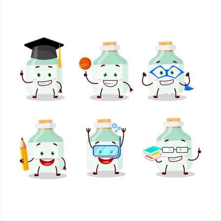 School student of white baby milk bottle cartoon character with various expressions 矢量图像