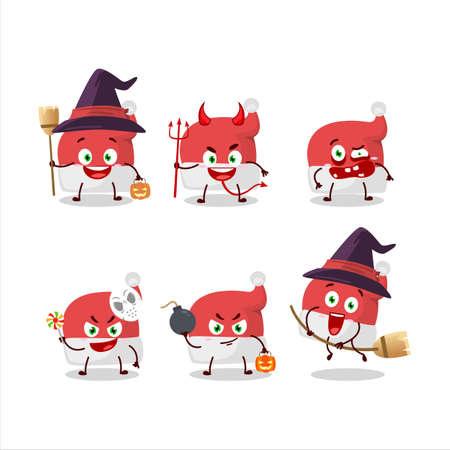 Halloween expression emoticons with cartoon character of red santa hat 矢量图像