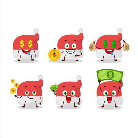 Red santa hat cartoon character with cute emoticon bring money