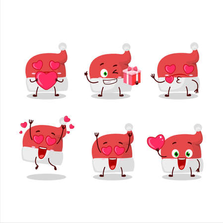 Red santa hat cartoon character with love cute emoticon