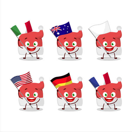 Red santa hat cartoon character bring the flags of various countries 矢量图像