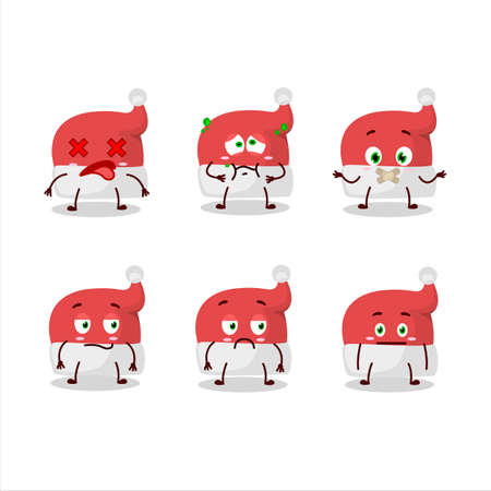 Red santa hat cartoon character with nope expression