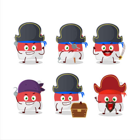 Cartoon character of red santa hat with various pirates emoticons