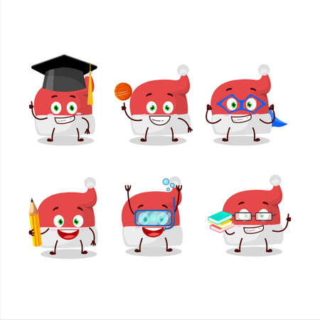 School student of red santa hat cartoon character with various expressions