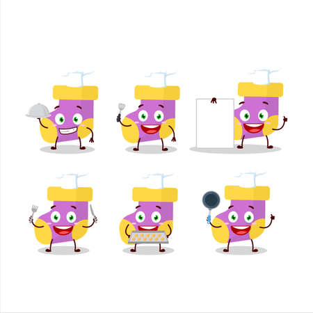 Cartoon character of baby purple socks with various chef emoticons Ilustracja