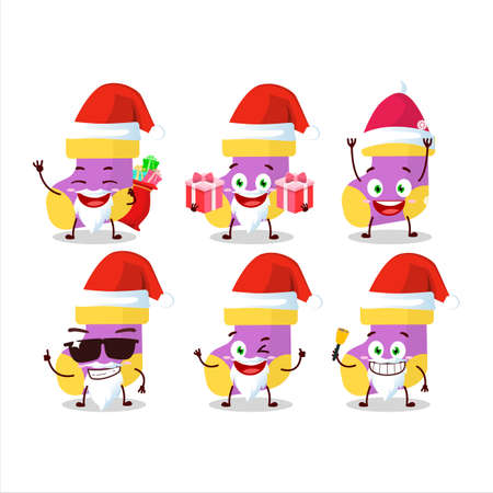 Santa Claus emoticons with baby purple socks cartoon character