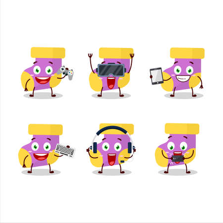 Baby purple socks cartoon character are playing games with various cute emoticons Ilustracja