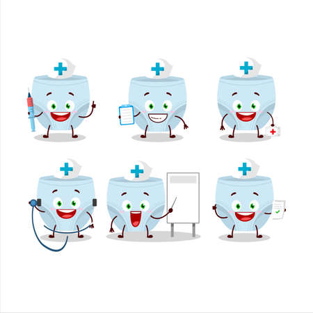 Doctor profession emoticon with blue baby diapers cartoon character Ilustração