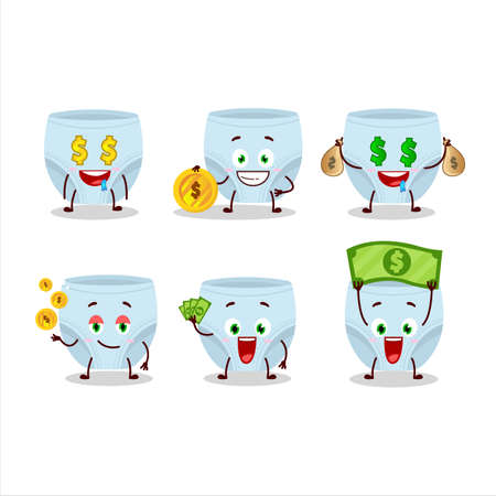 Blue baby diapers cartoon character with cute emoticon bring money