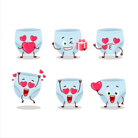 Blue baby diapers cartoon character with love cute emoticon