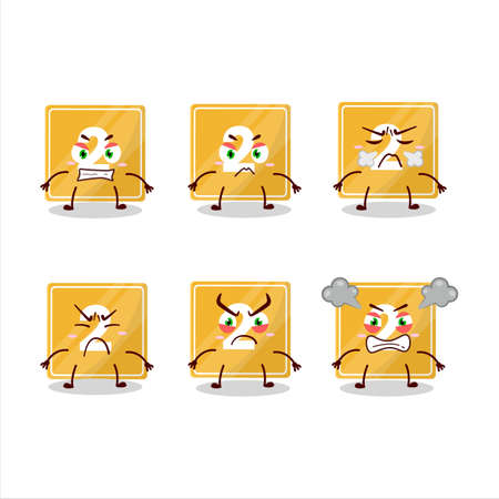 Toys block two cartoon character with various angry expressions