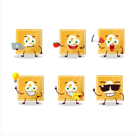 Toys block two cartoon character with various types of business emoticons
