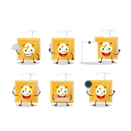 Cartoon character of toys block two with various chef emoticons