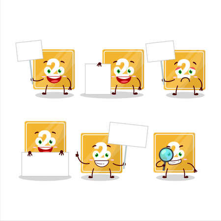 Toys block two cartoon character bring information board Ilustracja