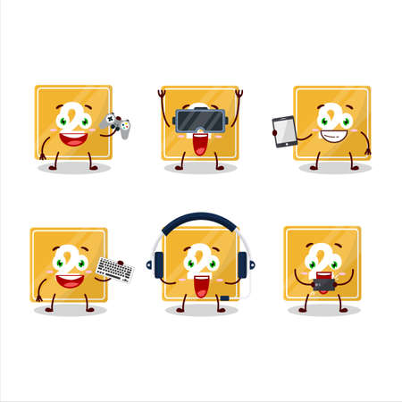 Toys block two cartoon character are playing games with various cute emoticons
