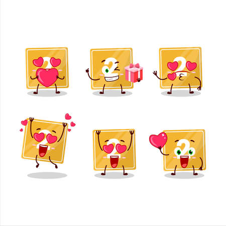 Toys block two cartoon character with love cute emoticon