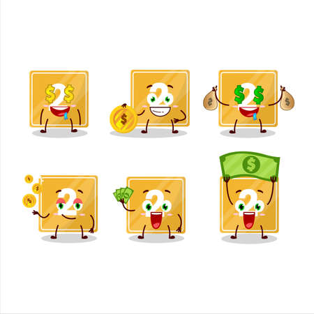 Toys block two cartoon character with cute emoticon bring money