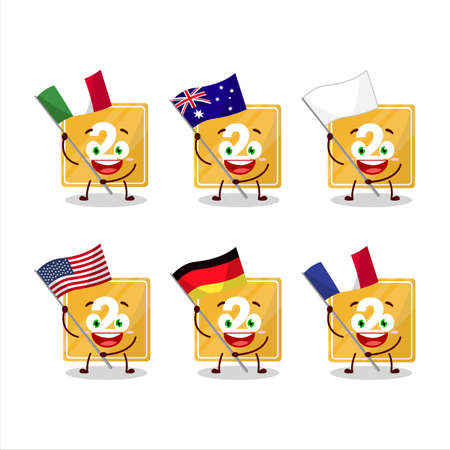 Toys block two cartoon character bring the flags of various countries